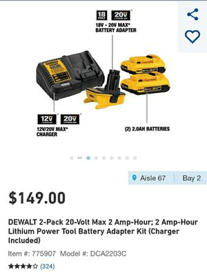 Dewalt 20 volt battery kit with adapter and charger NEW for Sale in Columbus, OH
