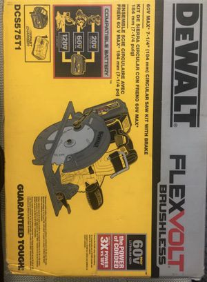 DeWalt FLEXVOLT 60-Volt MAX Lithium-Ion Cordless Brushless 7-1/4 in. Circular Saw with Battery 2Ah, 1-Hour Charger and Case for Sale in Silver Spring, MD