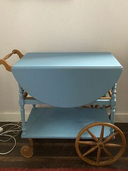 Blue Vintage Tea Cart/ Desk W/ Optional Chair for Sale in Portland,  OR