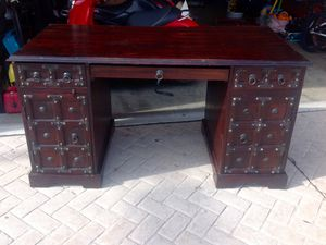 Pottery Barn Ludlow series trunk desk. Full Cherry and mahogany hard wood construction chest cabinet storage stand entertainment center for TV or ? for Sale in Mesa, AZ