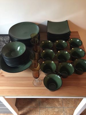 Gabbay dish set + wine glasses for Sale in Alexandria, VA