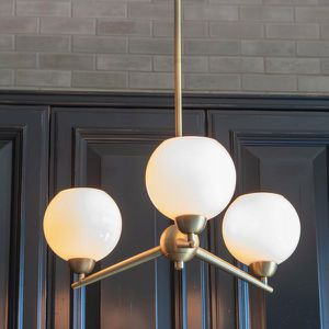 Decor Therapy Michael 3-Light Antique Brass Chandelier with Milk Glass NEW for Sale in Fort Lauderdale, FL