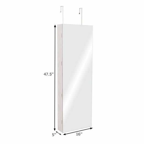 Costway Door Wall Mount Touch Screen LED Light Mirrored Jewelry Cabinet Storage Lockable, White