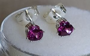925 Sterling Silver Rhodolite Garnet Studs Earrings for Sale in Bonney Lake, WA