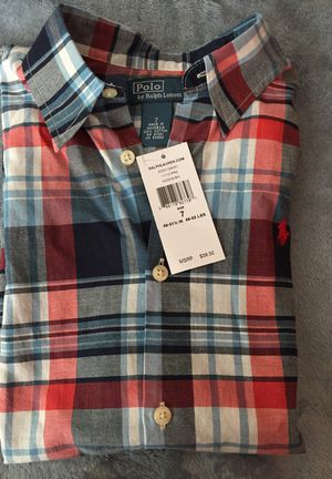 Boy's POLO Multicolor Plaid S/S Shirt (Sz 7) for Sale in Fort Washington, MD