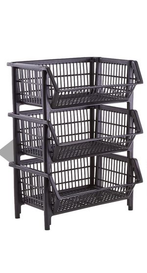THE CONTAINER STORE 3 Large Stackable Baskets — Black — Like New Condition — PRICE FIRM ✅ SAME DAY PICK UP REQUIRED‼️ for Sale in Dallas, TX