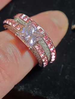 Size 10 2pc Pink Candy cz Princess Cut Solitaire Ring Set for Sale in Wenatchee,  WA