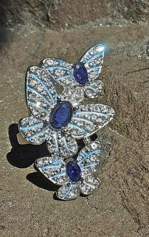 Triple Butterfly Blue Sapphire 925 Silver Ring Size 7 for Sale in Union, WA