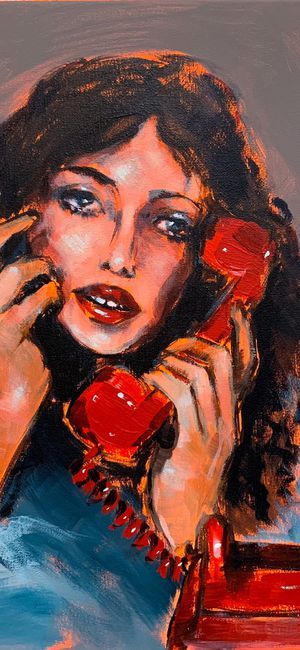 Pick up the phone ☎️ Original acrylic painting on canvas 16x20 inches. Buy from the artist 👩🏻🎨 for Sale in Los Angeles, CA