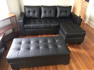 Brand New In Box Sectional Sofa Chaise With Ottoman Included, Black Color > Furniture Sale, Visit Us for Sale in Cumberland, RI