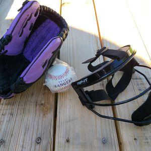 Wilson Baseball Softball Glove Monsta Web Fastpitch Series, a RIP-IT Youth Defense Fielder's Mask and a New Texas Rangers Baseball for Sale in Austin, TX