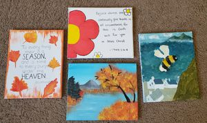 """4 x Hand Painted Canvases 10""""/8"""" for Sale in Everett, WA"""