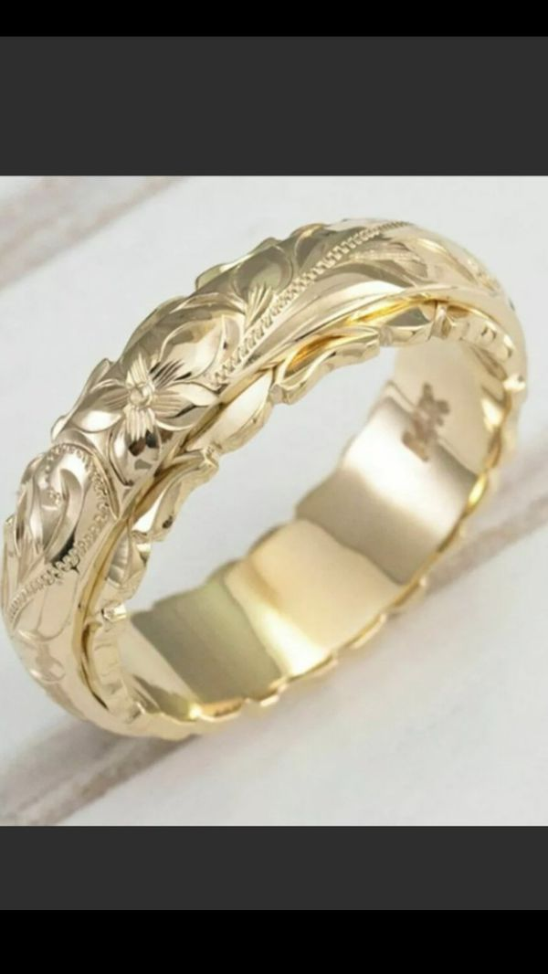 Fashion 18k gold plated flower carved wedding ring size 7