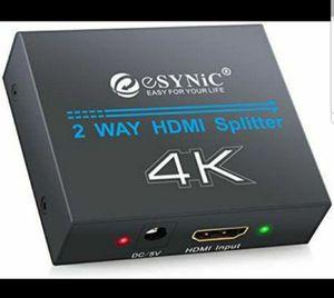 eSynic 4K HDMI Splitter 1 X 2 Ultra HD HDMI Splitter Amplifier Adapter for Sale in Riverside, CA