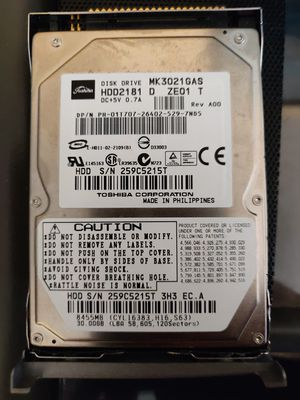 """Toshiba MK3021GAS HDD2181 30GB 2.5"""" 4200RPM IDE HDD for Sale in Revere, MA"""