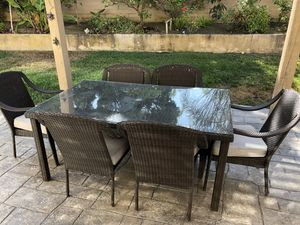 7 piece outdoor wicker dining furniture patio set 8 seater table for Sale in Carlsbad, CA