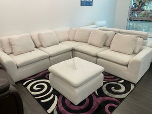 Modern Aventura White Fabric Sectional Sofa and Ottoman set $699. No credit check financing. Same day delivery for Sale in Tampa, FL