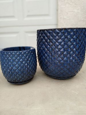 """New Planting Pot """"Blue Pinequilt 18in. & 14in Ceramic Planter"""" $100$ ObO 😷 for Sale in San Bernardino, CA"""