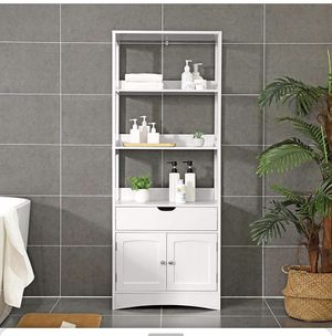 Bathroom Storage Cabinet, Tall Cabinet, Free Standing Bookshelf, with 3 Open Shelves, 1 Drawer and 1 Cupboard, 60 x 32.5 x 154 cm, for Entryway, Kit for Sale in El Monte, CA