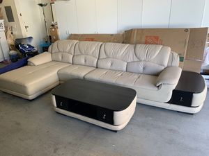 Leather Sectional Sleeper Couch + Coffee Table for Sale in Los Angeles, CA