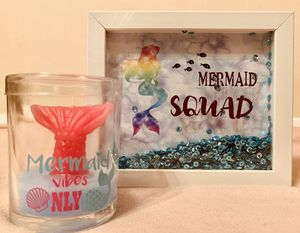 Mermaid Squad +Mer-tail candle wall/room decor(New) for Sale in Walton Hills, OH