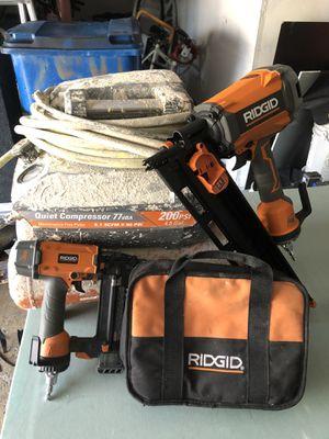 Tools. Framing gun finish nail gun Air compressor for Sale in Bloomingdale, IL
