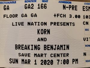 Tickets to Korn and Breaking Benjamin in Fresno for Sale in Ceres, CA