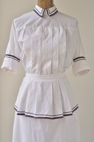 1980's Does 40's Vintage White Dress Nurse Uniform Nautical Dress Pleated Bodice Peplum 80's Victorian Dress Sailor Dress Midi Shirtdress for Sale in San Diego, CA