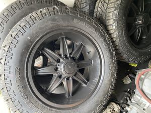 Brand new 35 12.50 r20 tires and rims 8x165. 8x6.5 for Sale in Portland, OR