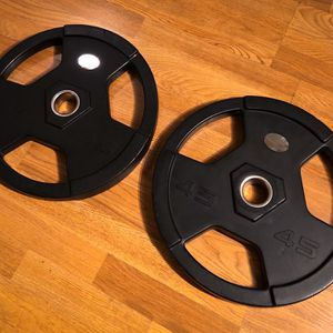 """Pair of 45 Pound 2"""" Olympic Urethane Commercial Weight Plates (Gym Quality) for Sale in Dallas, TX"""