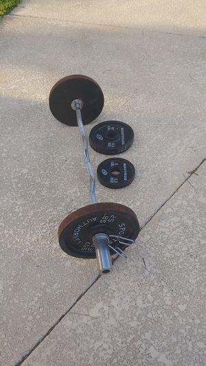 Olympic weights curl bar for Sale in Guadalupe, AZ