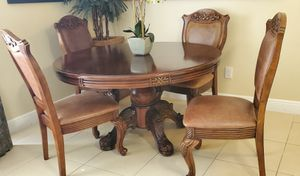 Solid wood/Authentic leather dining room set for Sale in Boca Raton, FL