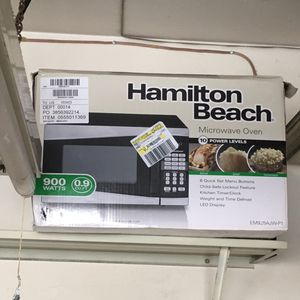 0.9 cu, 900 W Hamilton Microwave used for <6 months on sale for $30. Color: Black and Silver. All parts intact with packing. for Sale in Torrance, CA