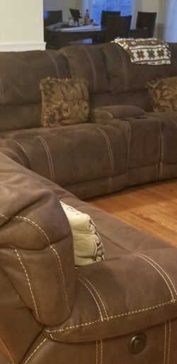 Brown Suede Reclining Sectional Sofa for Sale in Taunton,  MA
