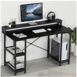 Sedeta 55 inch Computer Desk with Monitor Stand and Storage Shelves, Office Desk with Hutch and Printer Shelf CPU Stand, Large Computer Table, Studyin for Sale in Rosemead,  CA