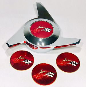 Crossed Flag Impala Candy/Ruby Red Lowrider Metal Chips Emblems Size 2.25 for Sale in Los Angeles, CA