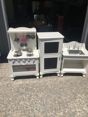 Pottery barn wooden kitchen set comes with pots pans a fridge full of food. for Sale in Stockton, CA