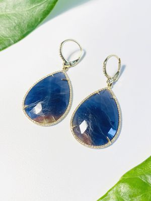 Blue Quartz Earrings With Yellow Gold and Diamonds. for Sale in Coral Gables, FL