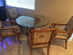 Solid wood glass top table for Sale in Las Vegas, NV