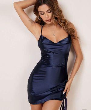 Beautiful dark blue SHORT silk dress for Sale in Atlanta, GA