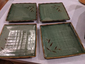 4 beautiful bamboo Jade colored Asian style dinner plates. for Sale in Wood Village, OR