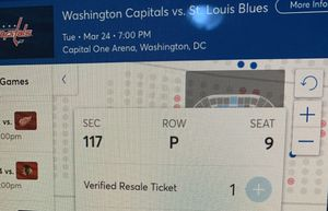 Capitals vs blues March 24 hockey ticket for Sale in Keedysville, MD