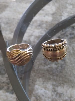 Beauty & health..Very nice set of 2 rings one silver plated.the other one alpaca.size 6 both for Sale in Lincoln Acres, CA