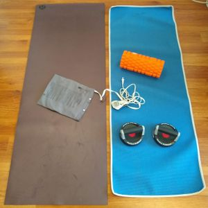 Sports Lot of 2 Yoga Mats w Foam Roller Electric Heating Pad Lululemon for Sale in Los Angeles, CA