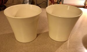 Ceramic flower pots (2)-Cream for Sale in Fair Oaks, PA