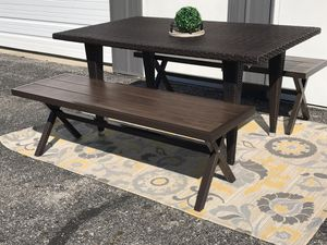 Outdoor patio furniture table and 2 aluminum benches for Sale in Columbus, OH