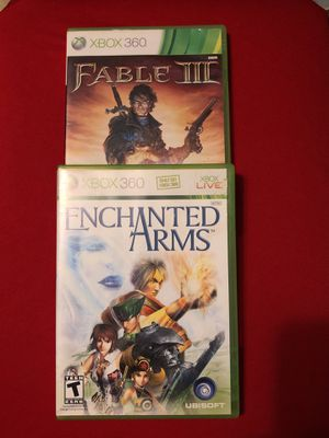 Xbox 360 Video Games Bundle RPGs Rare Enchanted Arms,Fable 3 Complete! Tested! for Sale, used for sale  Mayville, MI