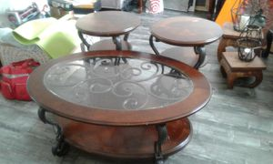 Set Of Coffee Table, 2 Side Table l Wood With Metal Frame Top Glass Like New for Sale in Walnut, CA