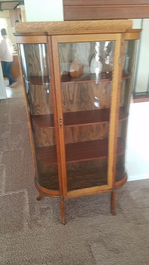Oak display curio cabinet antique in Poway for Sale in San Diego, CA