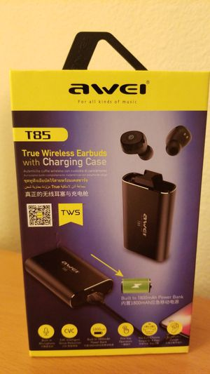 Awei T85 true wireless earbuds with charging case/ portable battery charger for Sale in Newark, CA